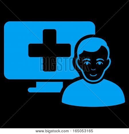 Online Medicine vector icon. Flat blue symbol. Pictogram is isolated on a black background. Designed for web and software interfaces.