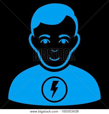 Power Man vector icon. Flat blue symbol. Pictogram is isolated on a black background. Designed for web and software interfaces.