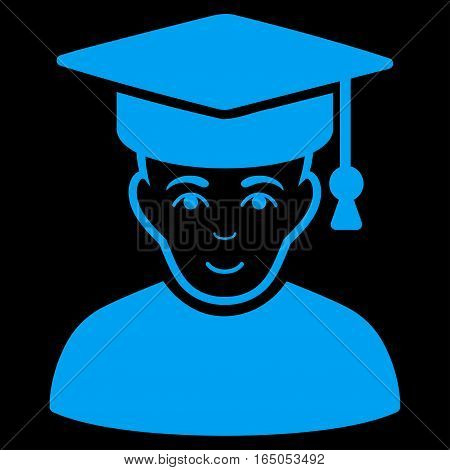 Professor vector icon. Flat blue symbol. Pictogram is isolated on a black background. Designed for web and software interfaces.