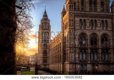 London, UK - January 28, 2016: The British natural history museum in London at sunset as seen from the exhibition road