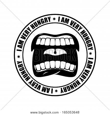 I Am Very Hungry Logo. Open Mouth And Teeth. Emblem For Restaurant And Cafe. Hunger Is Sign