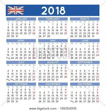 2018 Squared Calendar English Uk Week Starts On Monday