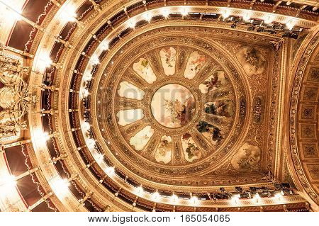 PALERMO, ITALY. December 30, 2016. Interior of Teatro Massimo opera house. The Teatro Massimo Vittorio Emanuele is an opera house and opera company located on the Piazza Verdi in Palermo, Sicily. Italy