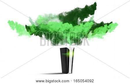 Futuristic Black Power bank with new technology  at white background charged by clouds isolated