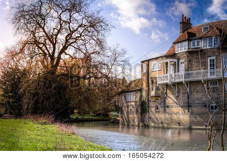 Old river house by Cam river in Cambridge