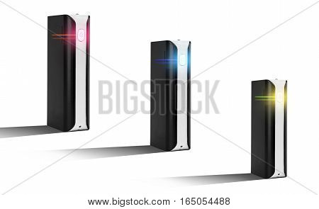 Futuristic Black Power bank with new technology  at white background isolated