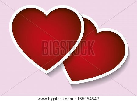 Two valentines hearts in red over pink background. Valentines day love concept. Love symbols