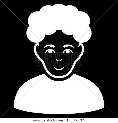 Brunet Man vector icon. Flat white symbol. Pictogram is isolated on a black background. Designed for web and software interfaces.