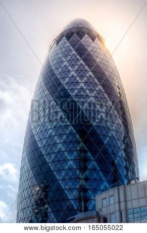 London, UK - April 3, 2016: The Gherkin building or '30 St Mary Axe' in the City of London primary financial district