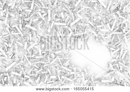 A tangled pile of white geometric confetti shapes on a bright background. 3D illustration. Space for text lower right.