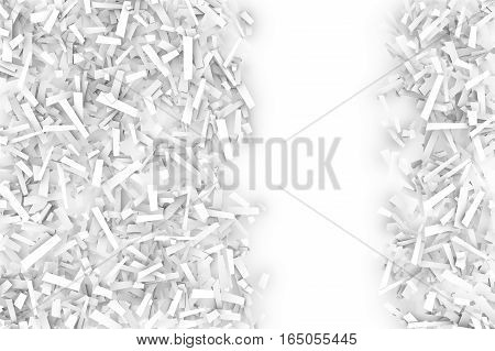 A tangled pile of white geometric confetti shapes on a bright background. 3D illustration. Space for text right.