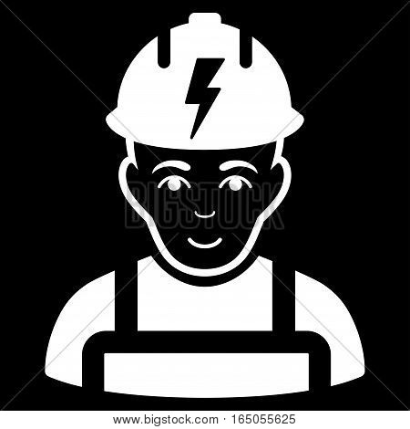 Electrician vector icon. Flat white symbol. Pictogram is isolated on a black background. Designed for web and software interfaces.