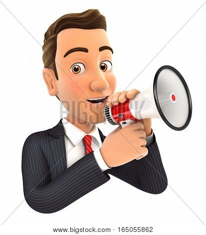 3d businessman talking into megaphone illustration with isolated white background