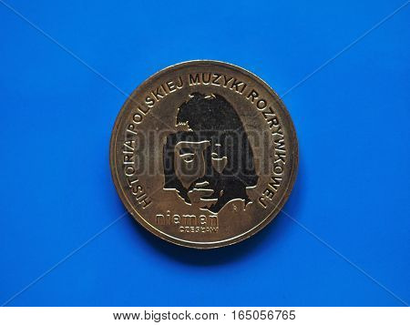 Two Polish Zloty Coin, Poland Over Blue