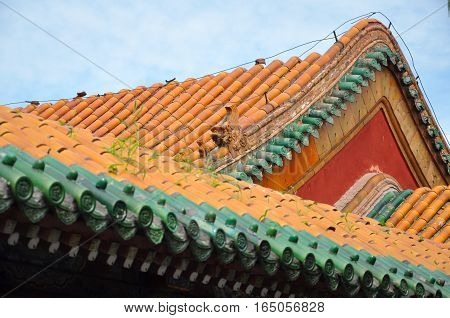Roof in detail in the Shenyang Imperial Palace Mukden Palace, Shenyang, Liaoning Province, China. Shenyang Imperial Palace is UNESCO world heritage site built in 400 years ago.