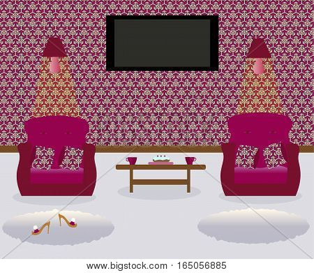 A living room with a coffee table.Turned on lamps on the wall. Two armchairs witn colored decorative pillows. Сarpets. Sexy cute slippers with high heels. Flat screen TV.Vector illustration.