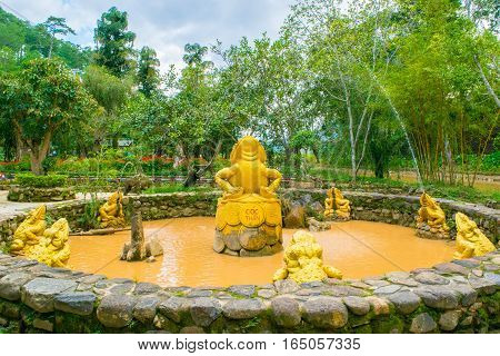 fountain with golden frogs with coins as a Landscape design of relax tropical garden
