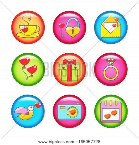 Set of glossy buttons with different Valentine's day icons elements collection. Vector illustration. Love concept symbols.