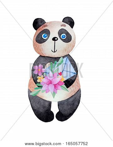 Cartoon panda with flowers and envelope in his paws in watercolor. Hand drawn illustration isolated on white background.