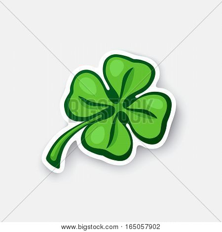 Vector illustration. Green clover. Lucky quatrefoil. Good luck symbol. Four leaf clover. Cartoon sticker in comic style with contour. Decoration for greeting cards, posters, patches, prints for clothes, emblems