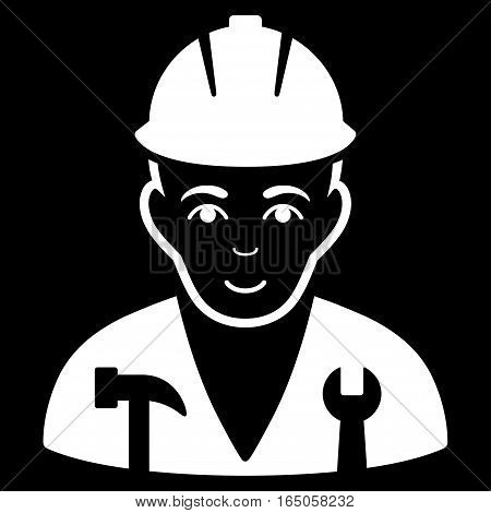 Serviceman vector icon. Flat white symbol. Pictogram is isolated on a black background. Designed for web and software interfaces.