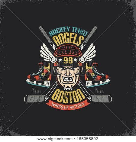 Vintage logo for hockey team with player head crossed sticks skates and puck. Layered vector illustration - grunge texture text background separately and can be easily disabled.