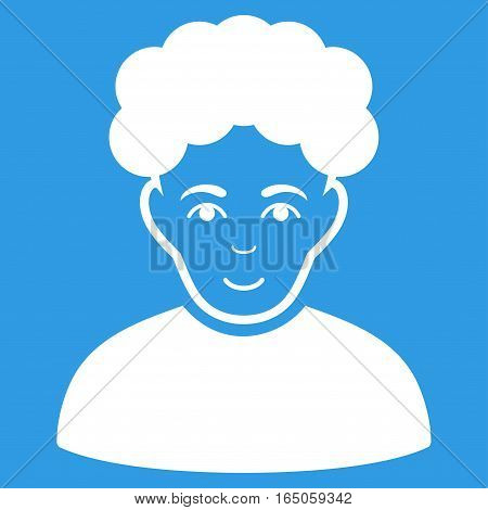 Brunet Man vector icon. Flat white symbol. Pictogram is isolated on a blue background. Designed for web and software interfaces.