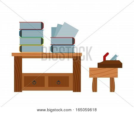 Book stacking on wooden table and plane on chair white background. Back to school education work equipment. Carpenter tool industry and vintage dictionary.