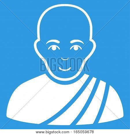 Buddhist Monk vector icon. Flat white symbol. Pictogram is isolated on a blue background. Designed for web and software interfaces.