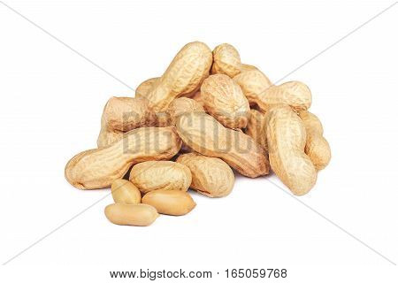 Tasty peanuts isolated on a white background