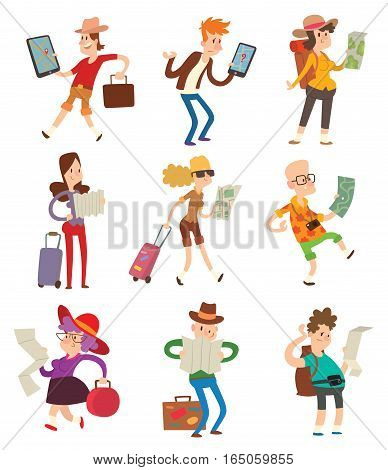 Traveler people searching right direction on map. Traveling freedom and active lifestyle concept. Smiling attractive journey happy character vector illustration.