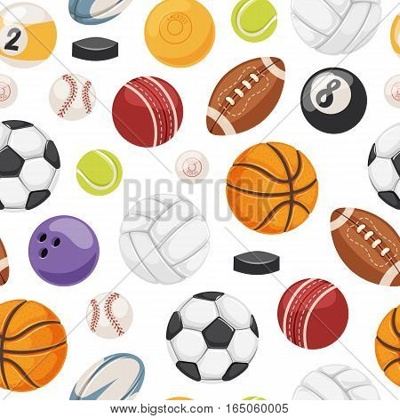 Sport balls seamless pattern vector. American match graphic activity basketball background. Rugby equipment winner competition wallpaper illustration.
