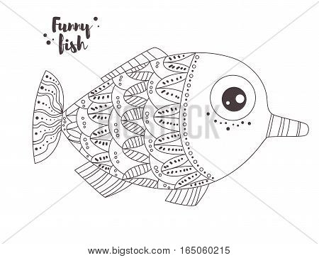 Funny fish. Coloring book for adult and kids, antistress coloring pages. Hand drawn vector isolated illustration on white background. Henna mehendi, tattoo sketch