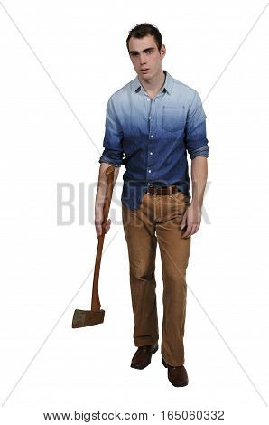 Handsome possessed man in a trance holding an axe