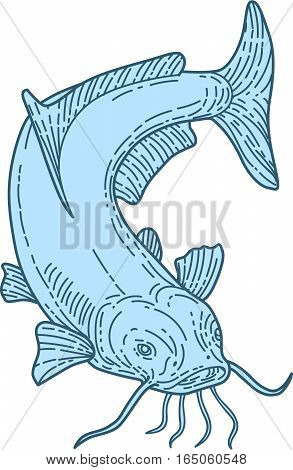 Mono line style illustration of a ray-finned fish catfish also known as mud cat polliwogs or chucklehead diving down set on isolated white background.