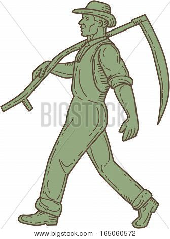 Mono line style illustration of an organic farmer farm worker holding scythe on shoulder walking viewed from the side set on isolated white background.