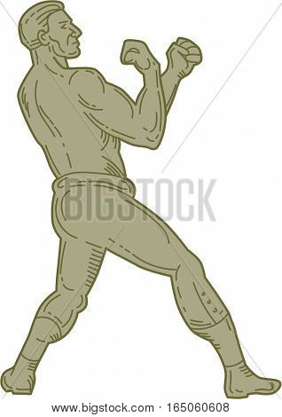 Mono line style illustration of a boxer in a fighting stance pose viewed from the side set on isolated white background.