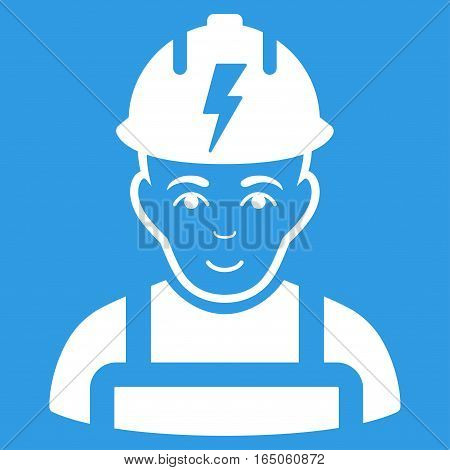 Electrician vector icon. Flat white symbol. Pictogram is isolated on a blue background. Designed for web and software interfaces.
