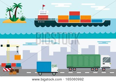 Delivery transport cargo logistic vector illustration. Commercial highway industrial city truck. Fast shipment distribution export courier car. Ship sea transportation.