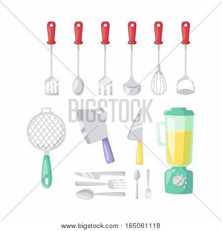Kitchen blender and cooking icons set. Kitchenware and utensils food preparation vector illustration for restaurants cafe and culinary blog in flat design.