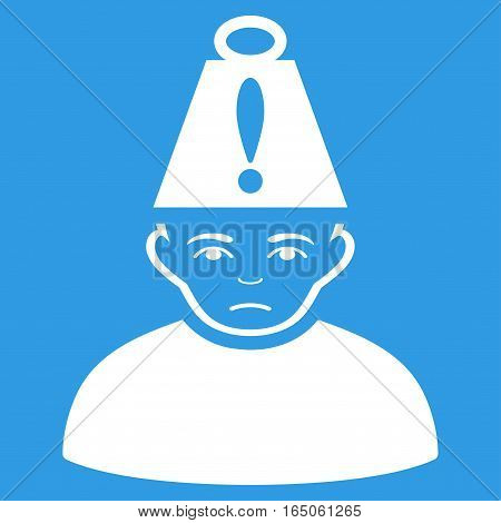 Head Stress vector icon. Flat white symbol. Pictogram is isolated on a blue background. Designed for web and software interfaces.