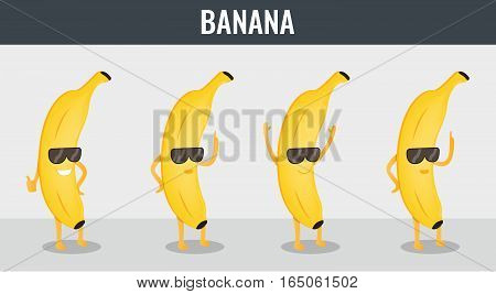 Banana. Funny cartoon fruits. Organic food Vector illustration