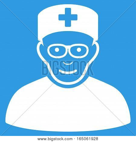 Medical Specialist vector icon. Flat white symbol. Pictogram is isolated on a blue background. Designed for web and software interfaces.