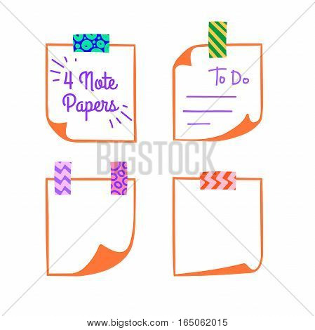 Four note papers with washi tape in cartoon style, linear memo with curled corners, colorful decorative paper tape, isolated note paper on white background, EPS 8