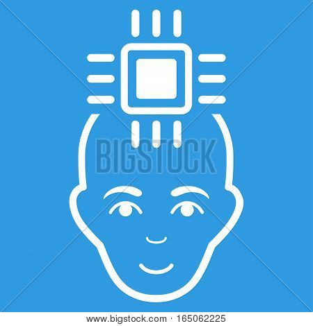 Neural Computer Interface vector icon. Flat white symbol. Pictogram is isolated on a blue background. Designed for web and software interfaces.