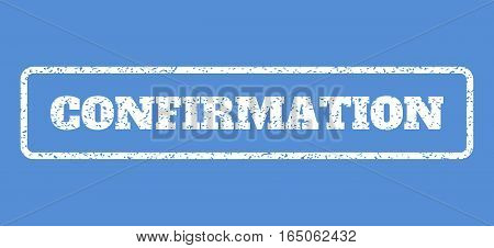 White rubber seal stamp with Confirmation text. Vector caption inside rounded rectangular frame. Grunge design and scratched texture for watermark labels. Horisontal emblem on a blue background.