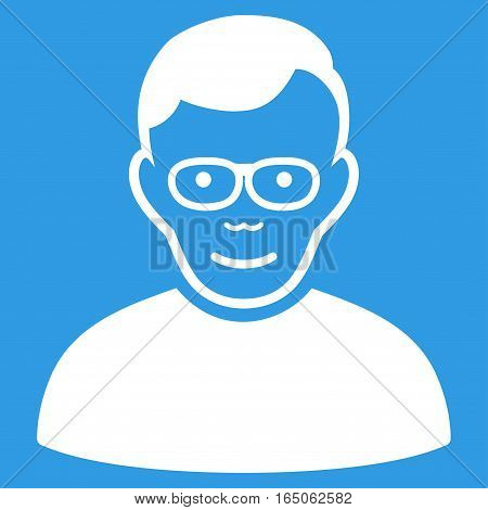 Pensioner vector icon. Flat white symbol. Pictogram is isolated on a blue background. Designed for web and software interfaces.