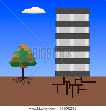 Tree with root and building with underground equipment