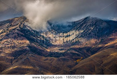 Thick clouds over Ruby Mountains Range Nevada