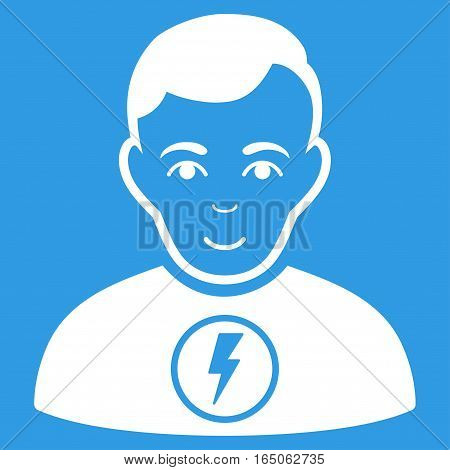 Power Man vector icon. Flat white symbol. Pictogram is isolated on a blue background. Designed for web and software interfaces.